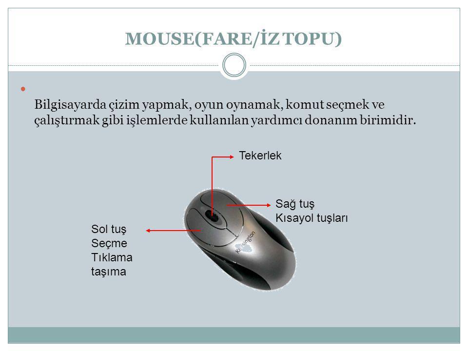 MOUSE(FARE/İZ TOPU) Fare Bilgisayarda çizim yapmak, oyun oynamak, komut seçmek ve çalıştırmak gibi işlemlerde kullanılan yardımcı donanım birimidir.