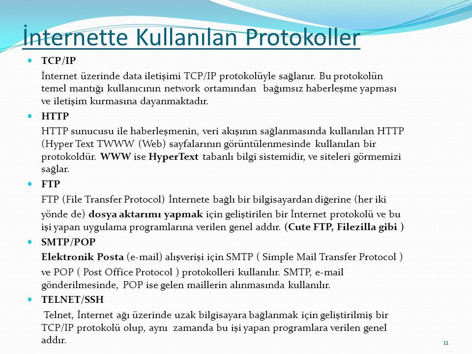 İnternette Kullanılan Protokoller