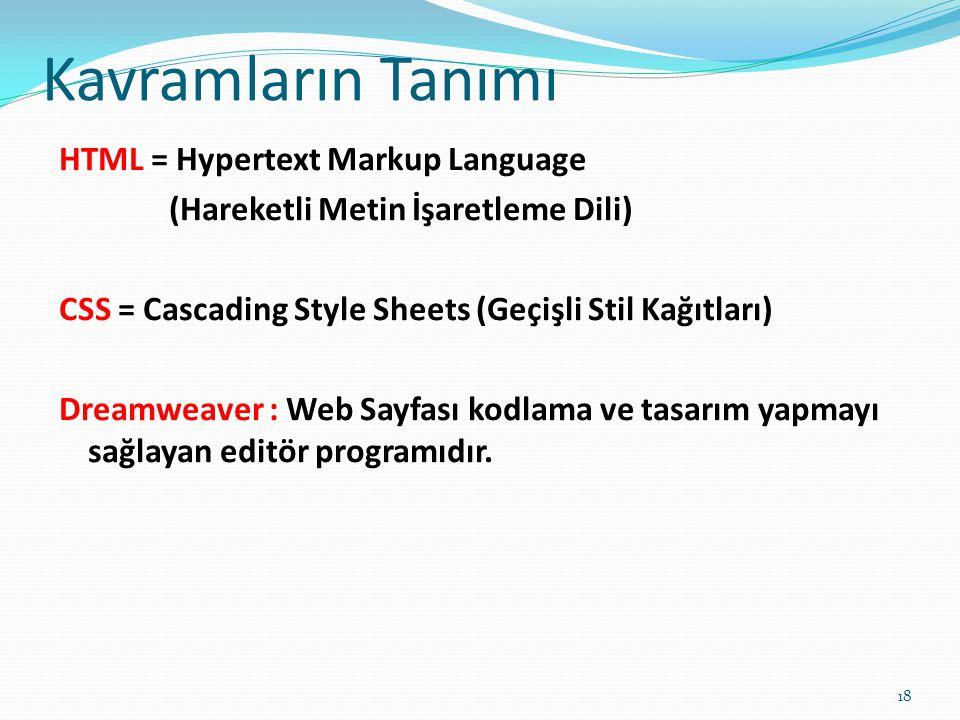 Kavramların Tanımı HTML = Hypertext Markup Language
