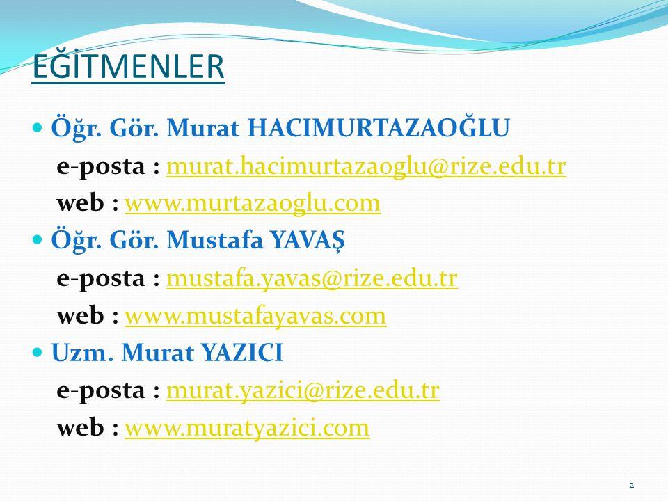 EĞİTMENLER Öğr. Gör. Murat HACIMURTAZAOĞLU