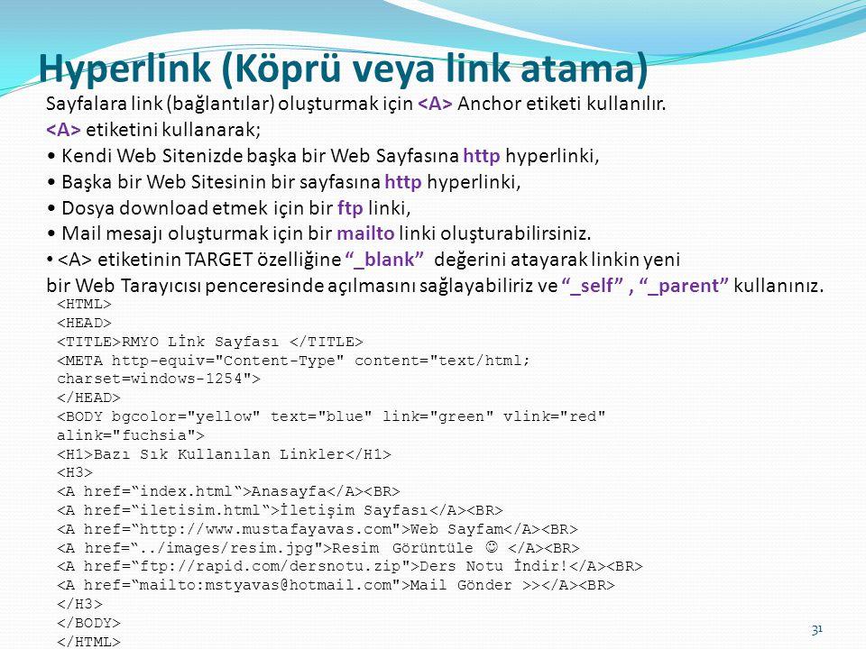Hyperlink (Köprü veya link atama)