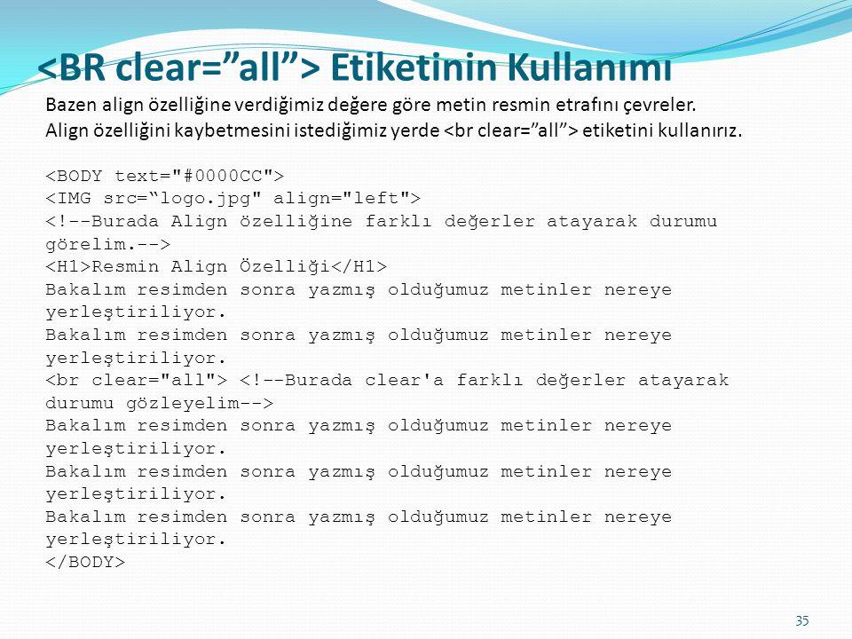<BR clear= all > Etiketinin Kullanımı