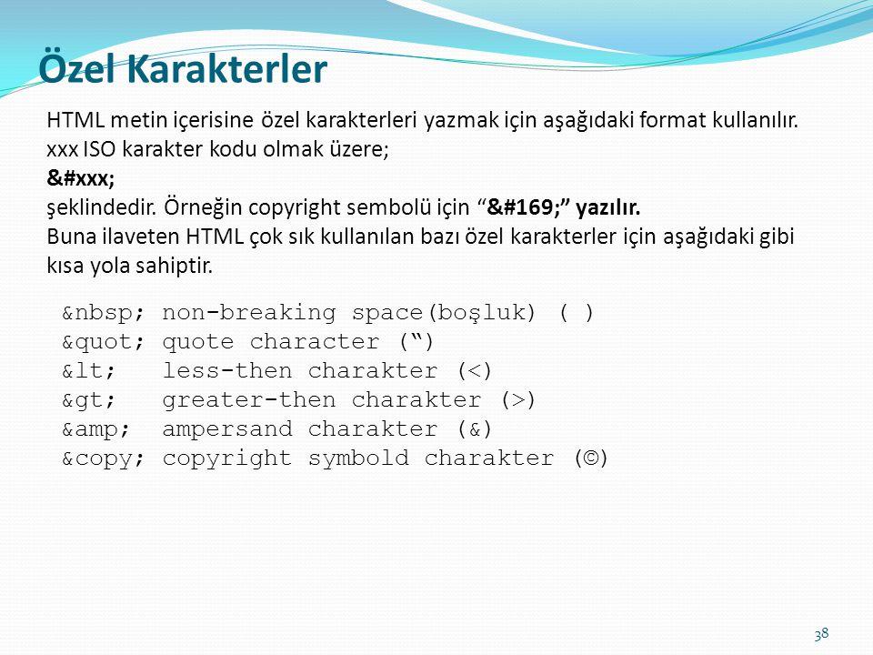 Özel Karakterler HTML metin içerisine özel karakterleri yazmak için aşağıdaki format kullanılır. xxx ISO karakter kodu olmak üzere;