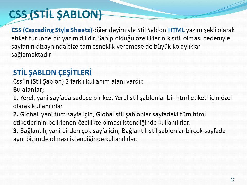 CSS (STİL ŞABLON) STİL ŞABLON ÇEŞİTLERİ