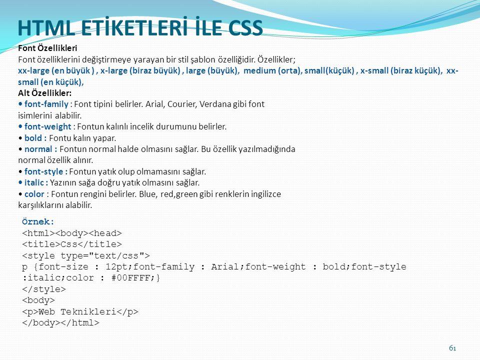 HTML ETİKETLERİ İLE CSS