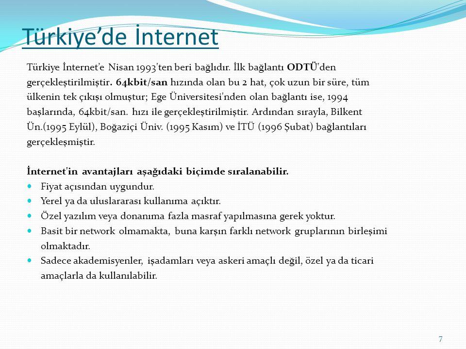 Türkiye'de İnternet Türkiye İnternet'e Nisan 1993 ten beri bağlıdır. İlk bağlantı ODTÜ den.