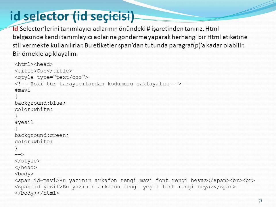 id selector (id seçicisi)