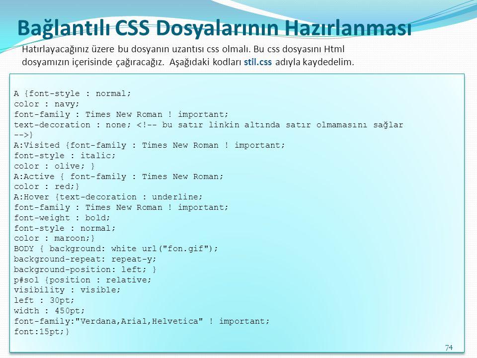 Bağlantılı CSS Dosyalarının Hazırlanması
