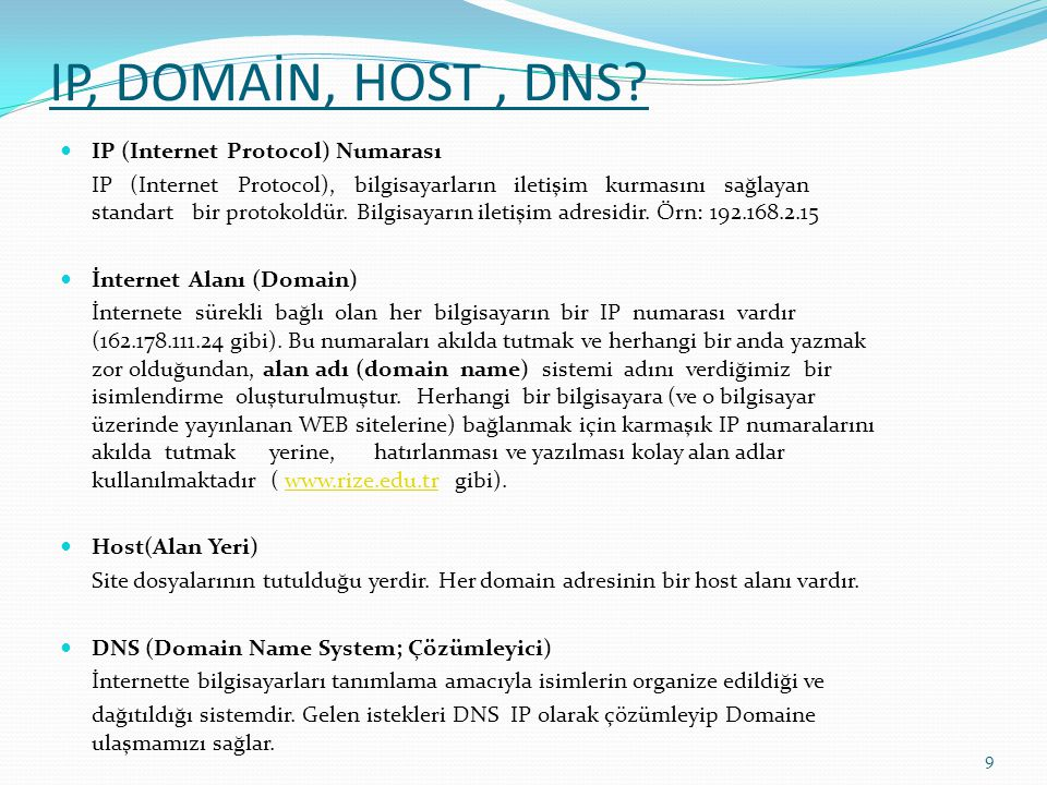 IP, DOMAİN, HOST , DNS IP (Internet Protocol) Numarası