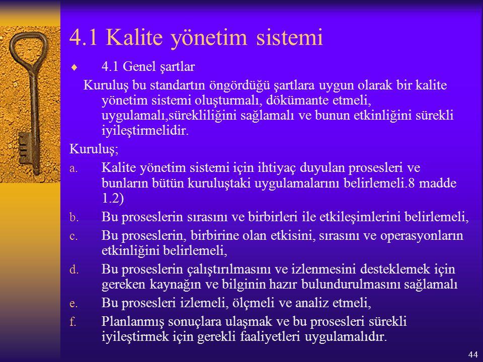 4.1 Kalite yönetim sistemi