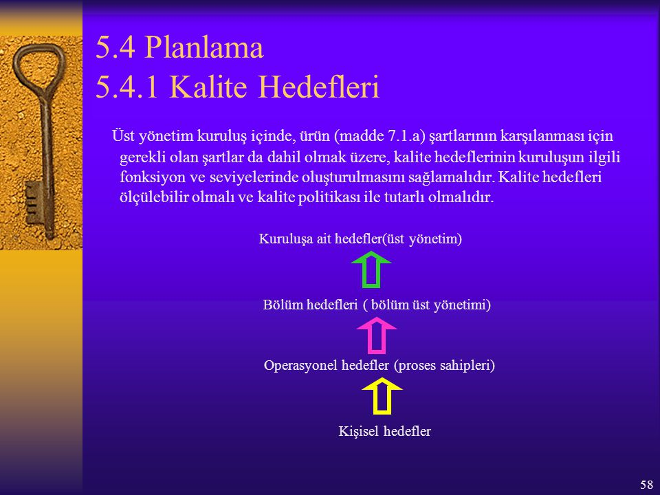 5.4 Planlama 5.4.1 Kalite Hedefleri
