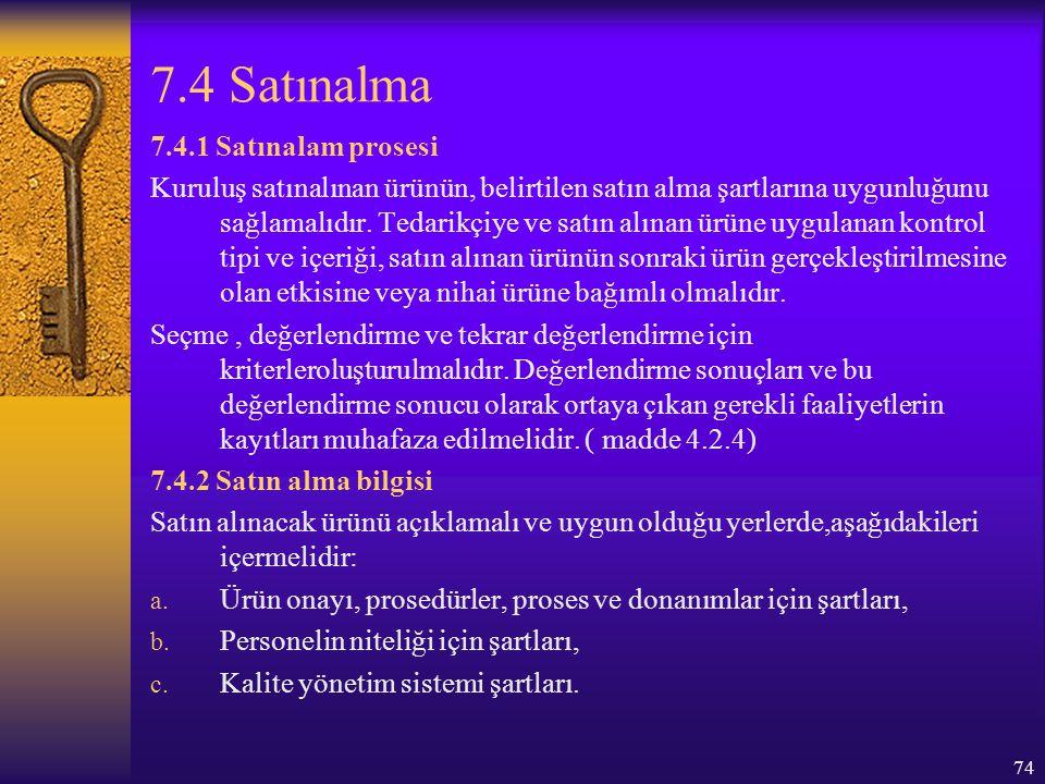 7.4 Satınalma 7.4.1 Satınalam prosesi