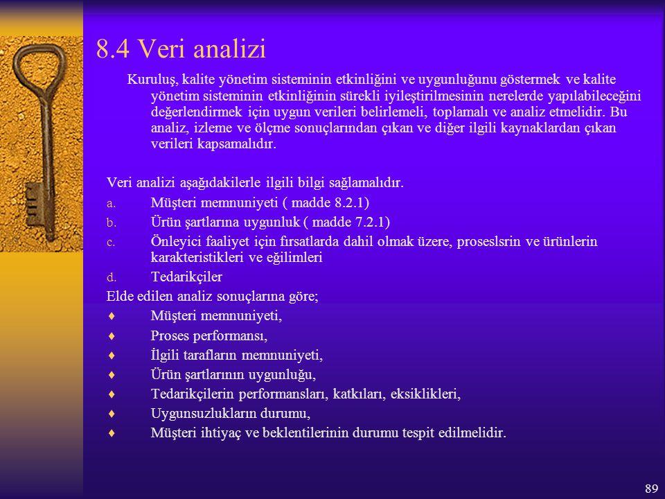 8.4 Veri analizi