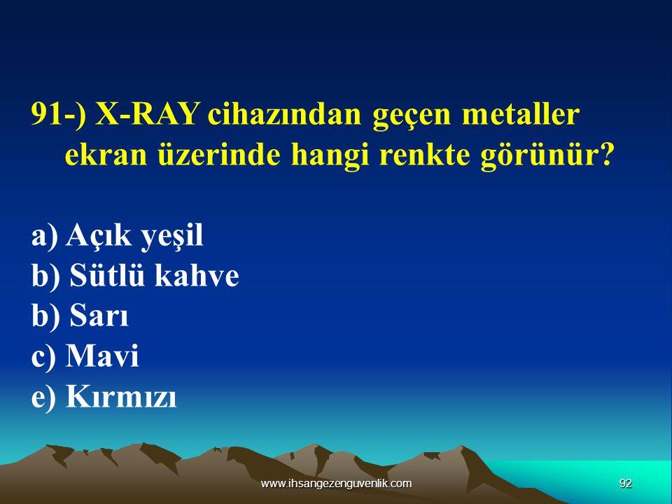 91-) X-RAY cihazından geçen metaller ekran üzerinde hangi renkte görünür
