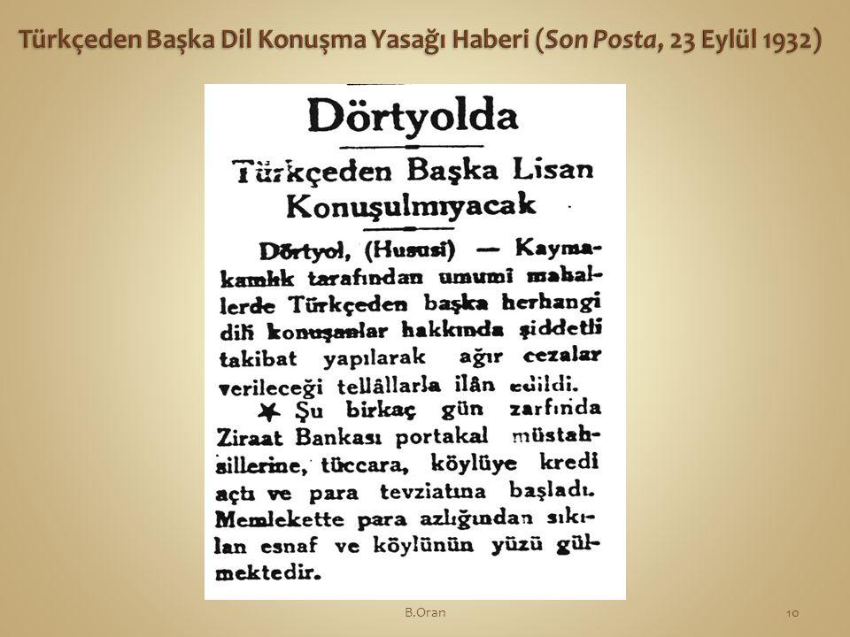 Türkçeden Başka Dil Konuşma Yasağı Haberi (Son Posta, 23 Eylül 1932)