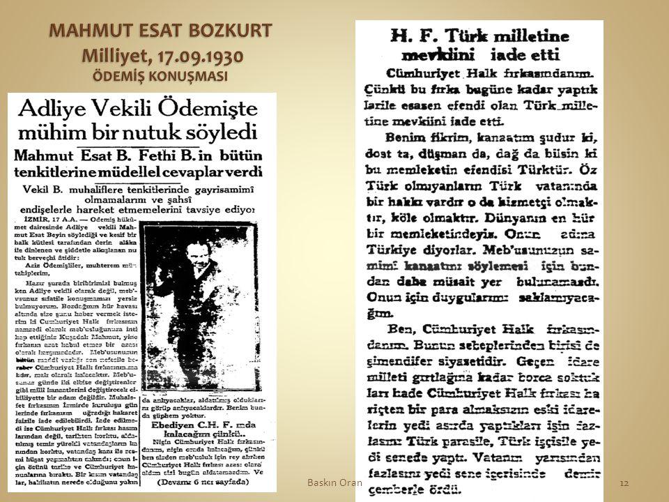 MAHMUT ESAT BOZKURT Milliyet, 17.09.1930 ÖDEMİŞ KONUŞMASI