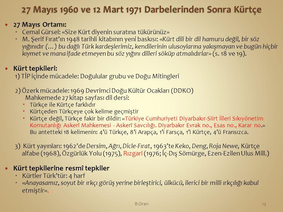 27 Mayıs 1960 ve 12 Mart 1971 Darbelerinden Sonra Kürtçe