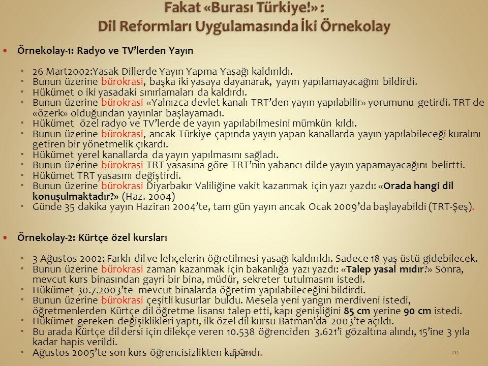 Fakat «Burası Türkiye!» : Dil Reformları Uygulamasında İki Örnekolay