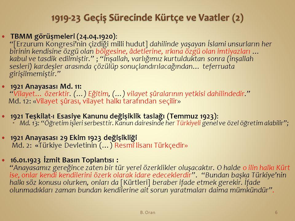 1919-23 Geçiş Sürecinde Kürtçe ve Vaatler (2)