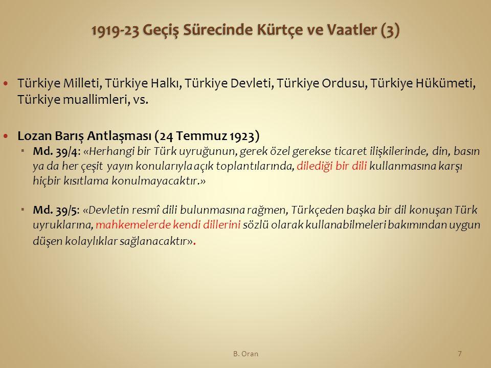 1919-23 Geçiş Sürecinde Kürtçe ve Vaatler (3)