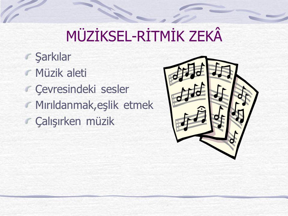 MÜZİKSEL-RİTMİK ZEKÂ Şarkılar Müzik aleti Çevresindeki sesler