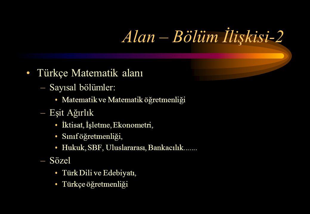 Alan – Bölüm İlişkisi-2 Türkçe Matematik alanı Sayısal bölümler: