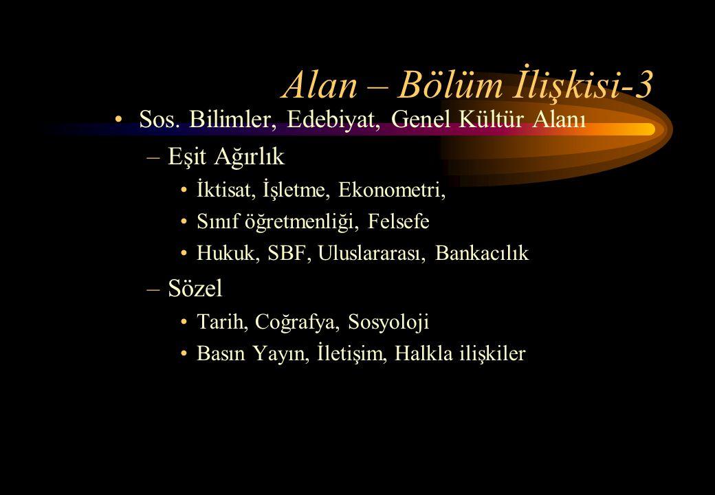 Alan – Bölüm İlişkisi-3 Sos. Bilimler, Edebiyat, Genel Kültür Alanı
