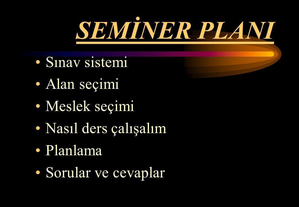 SEMİNER PLANI Sınav sistemi Alan seçimi Meslek seçimi