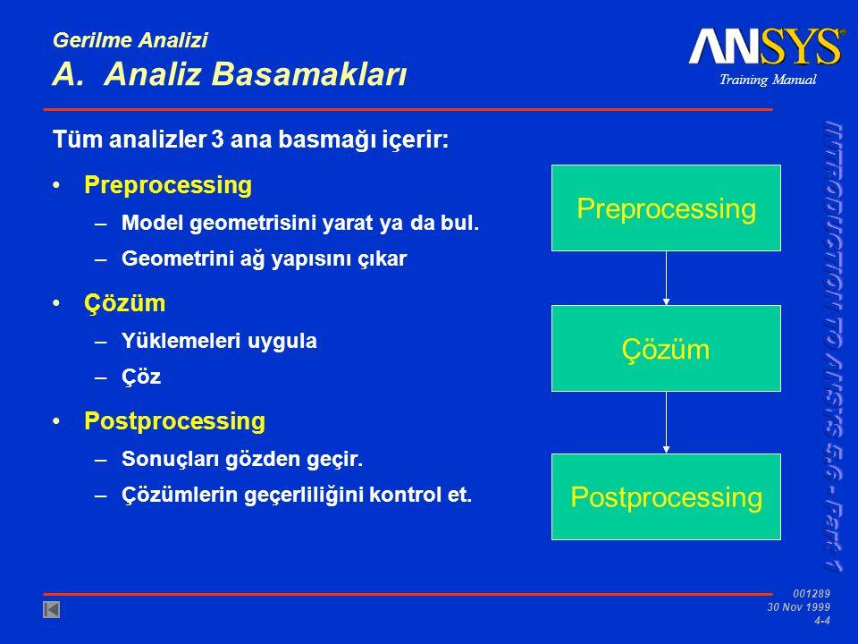 Gerilme Analizi A. Analiz Basamakları