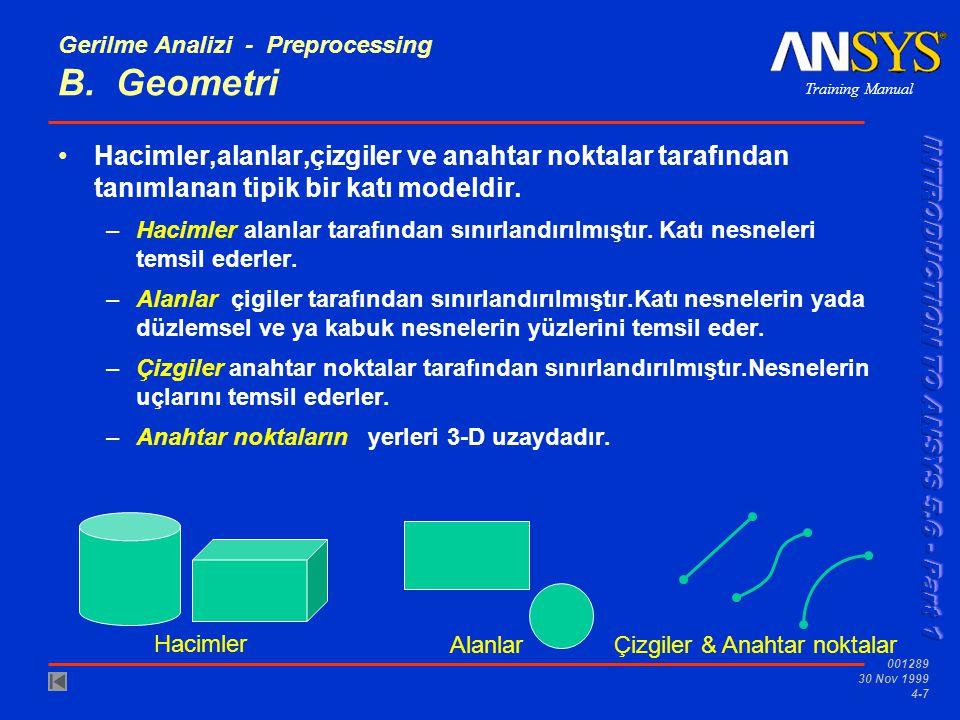 Gerilme Analizi - Preprocessing B. Geometri