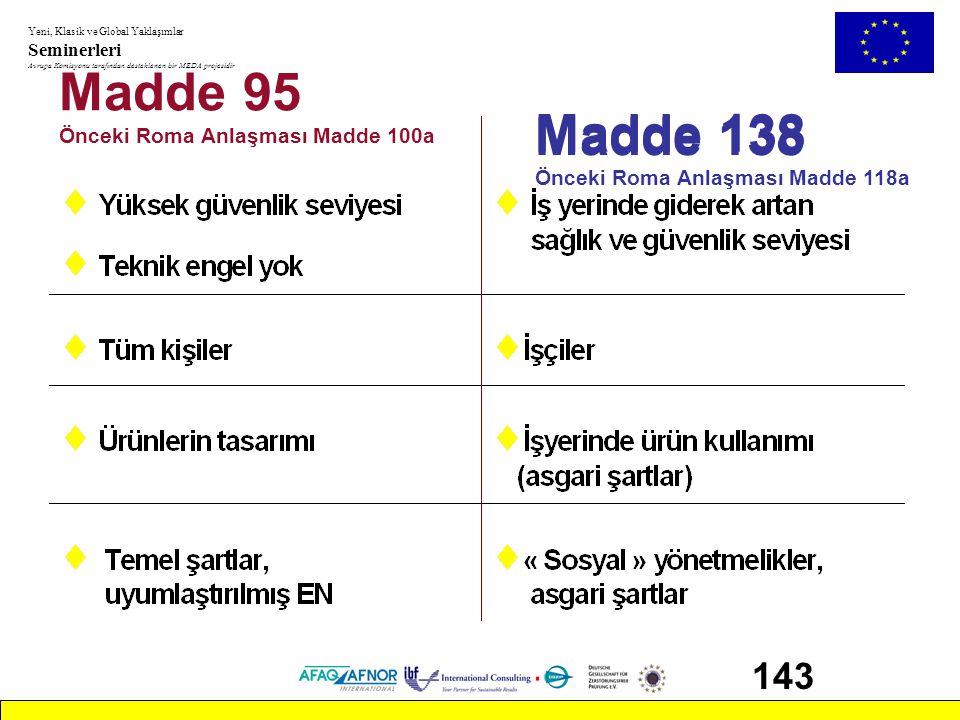 Madde 95 Madde 138 Madde 138 143 Önceki Roma Anlaşması Madde 100a