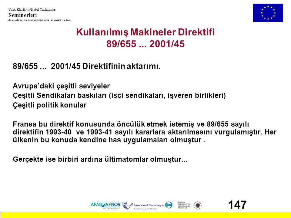 Kullanılmış Makineler Direktifi 89/655 ... 2001/45