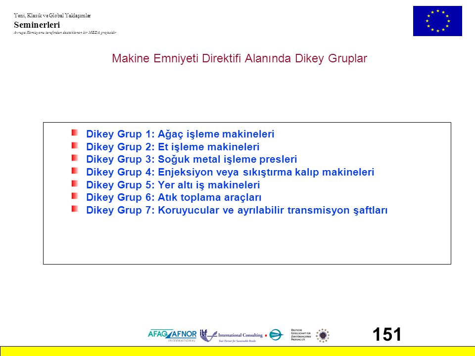 Makine Emniyeti Direktifi Alanında Dikey Gruplar