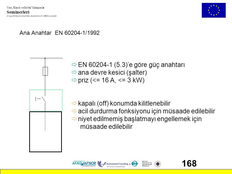 168 EN 60204-1 (5.3)'e göre güç anahtarı ana devre kesici (şalter)
