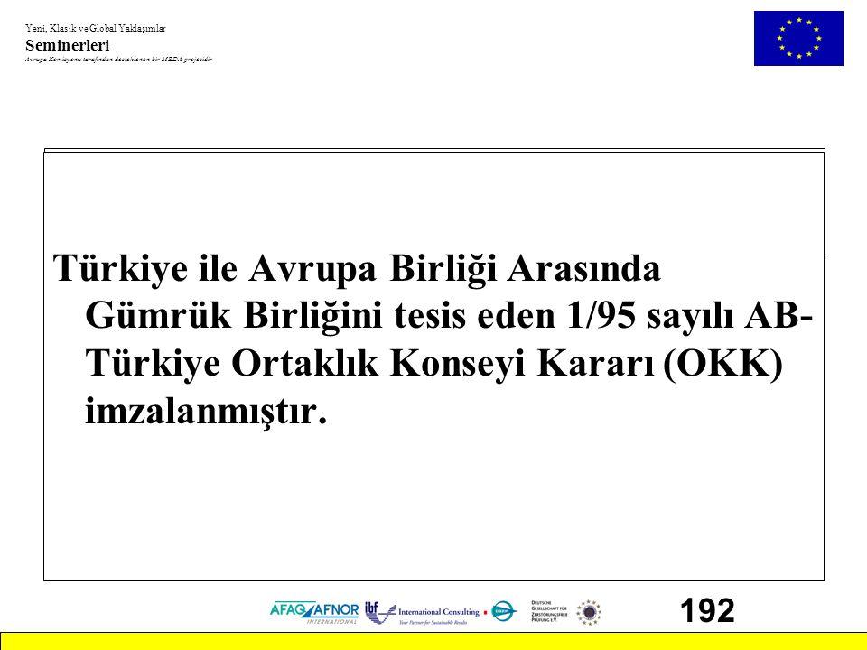 Türkiye ile Avrupa Birliği Arasında Gümrük Birliğini tesis eden 1/95 sayılı AB-Türkiye Ortaklık Konseyi Kararı (OKK) imzalanmıştır.