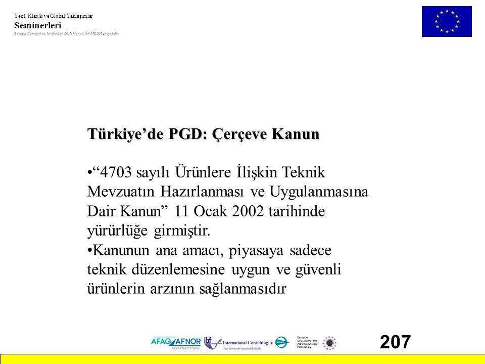 207 Türkiye'de PGD: Çerçeve Kanun 4703 sayılı Ürünlere İlişkin Teknik