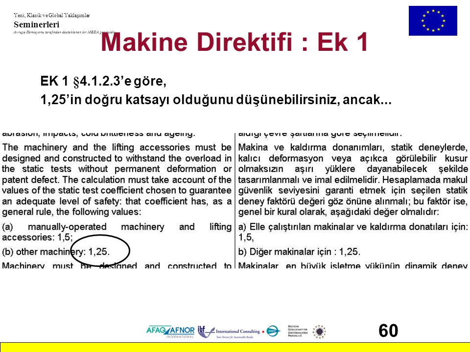 Makine Direktifi : Ek 1 60 EK 1 §4.1.2.3'e göre,
