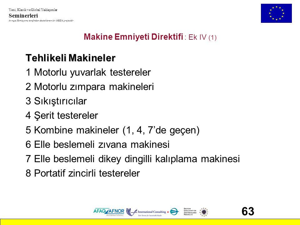 Makine Emniyeti Direktifi : Ek IV (1)