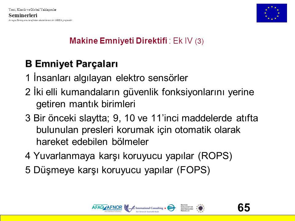 Makine Emniyeti Direktifi : Ek IV (3)