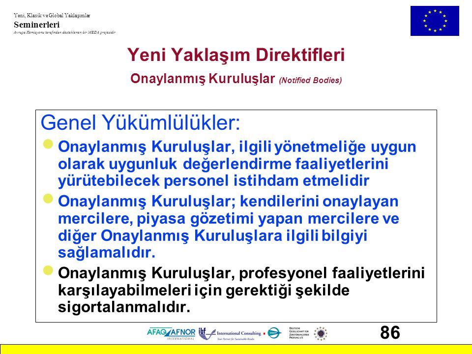 Yeni Yaklaşım Direktifleri Onaylanmış Kuruluşlar (Notified Bodies)