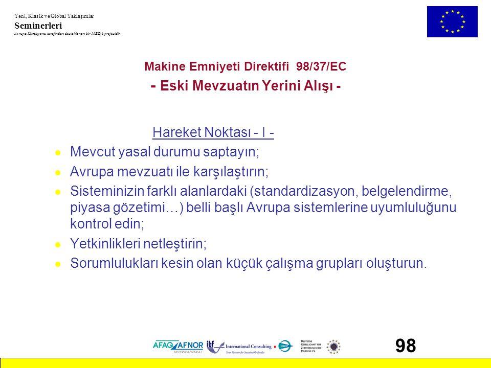 Makine Emniyeti Direktifi 98/37/EC - Eski Mevzuatın Yerini Alışı -
