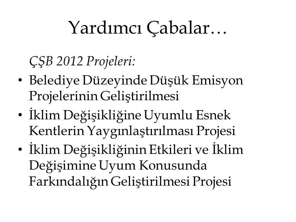 Yardımcı Çabalar… ÇŞB 2012 Projeleri: