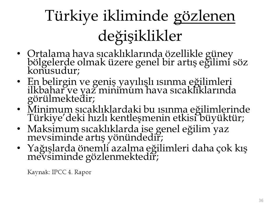 Türkiye ikliminde gözlenen değişiklikler