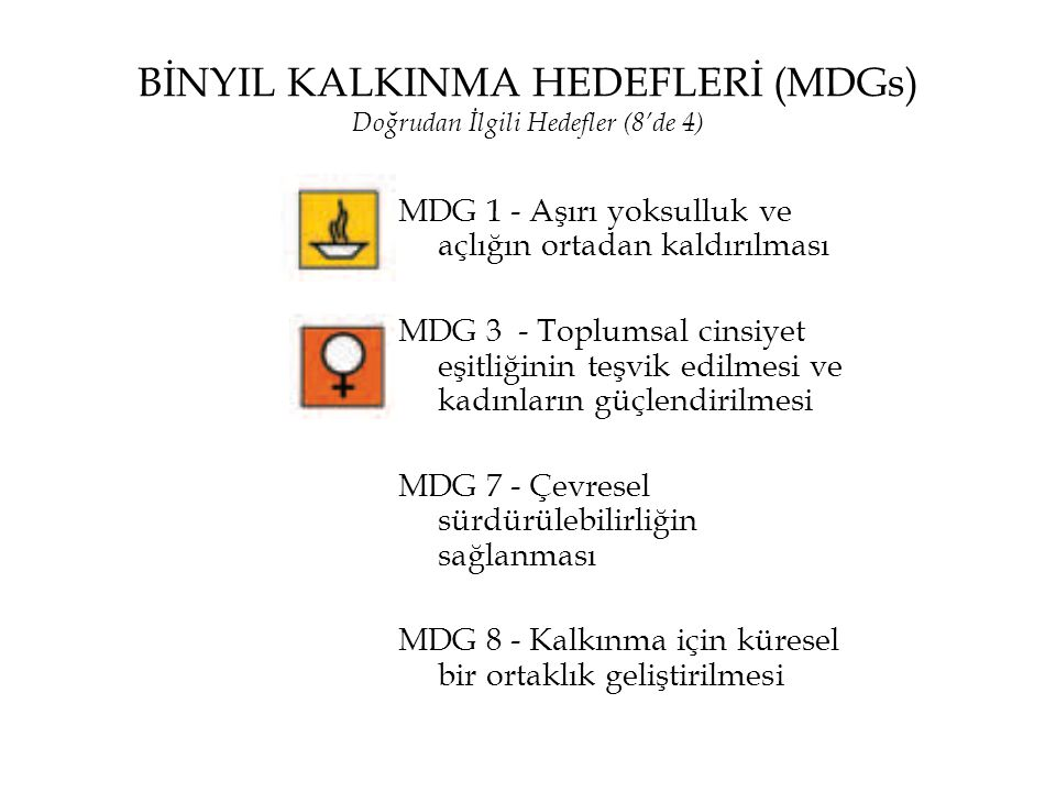 BİNYIL KALKINMA HEDEFLERİ (MDGs) Doğrudan İlgili Hedefler (8'de 4)
