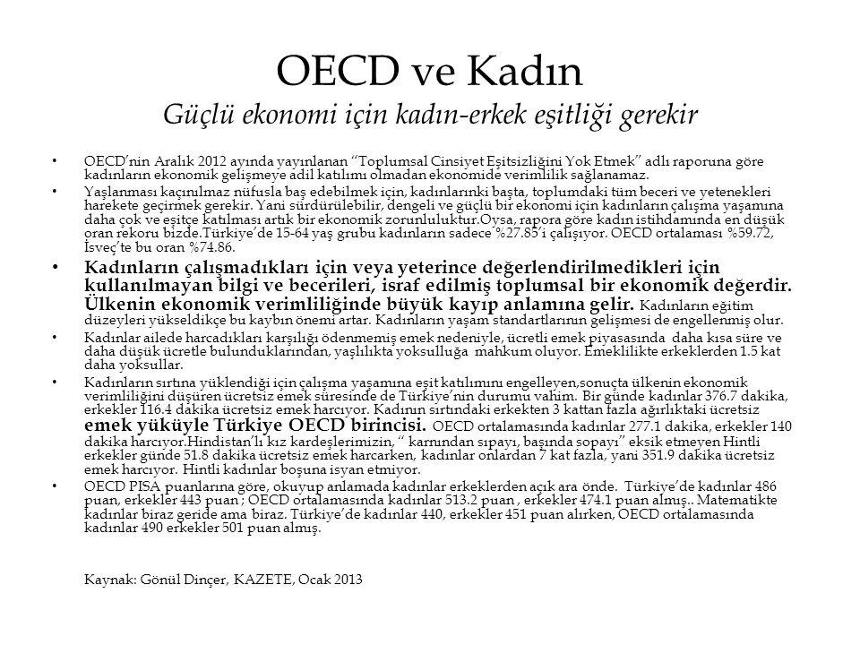 OECD ve Kadın Güçlü ekonomi için kadın-erkek eşitliği gerekir