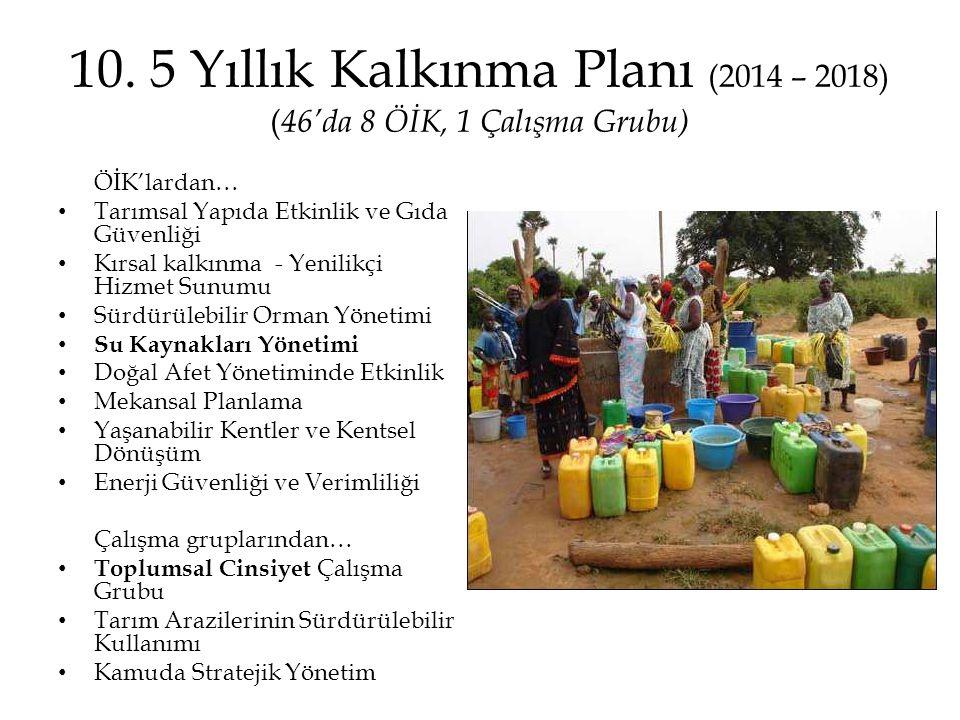 10. 5 Yıllık Kalkınma Planı (2014 – 2018) (46'da 8 ÖİK, 1 Çalışma Grubu)