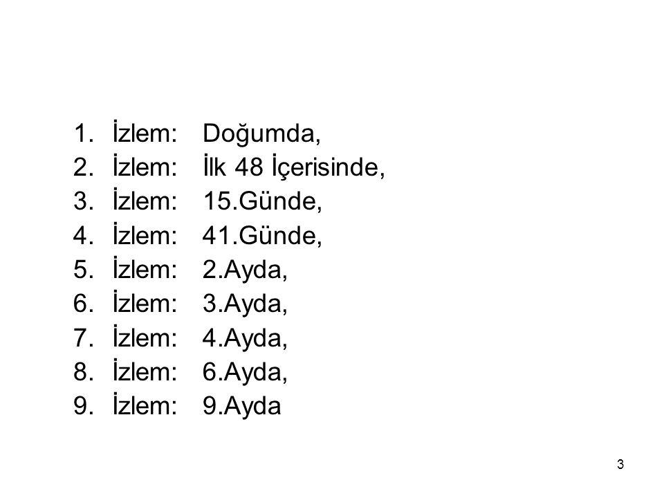 1. İzlem: Doğumda, 2. İzlem: İlk 48 İçerisinde, 3. İzlem: 15.Günde, 4. İzlem: 41.Günde, 5. İzlem: 2.Ayda,