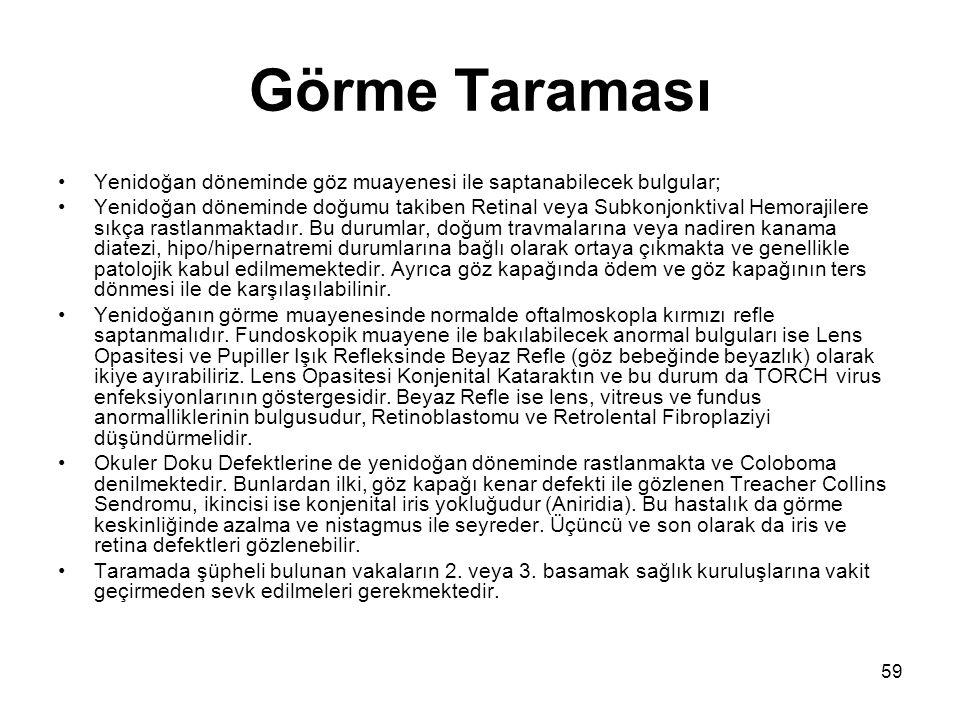Görme Taraması Yenidoğan döneminde göz muayenesi ile saptanabilecek bulgular;