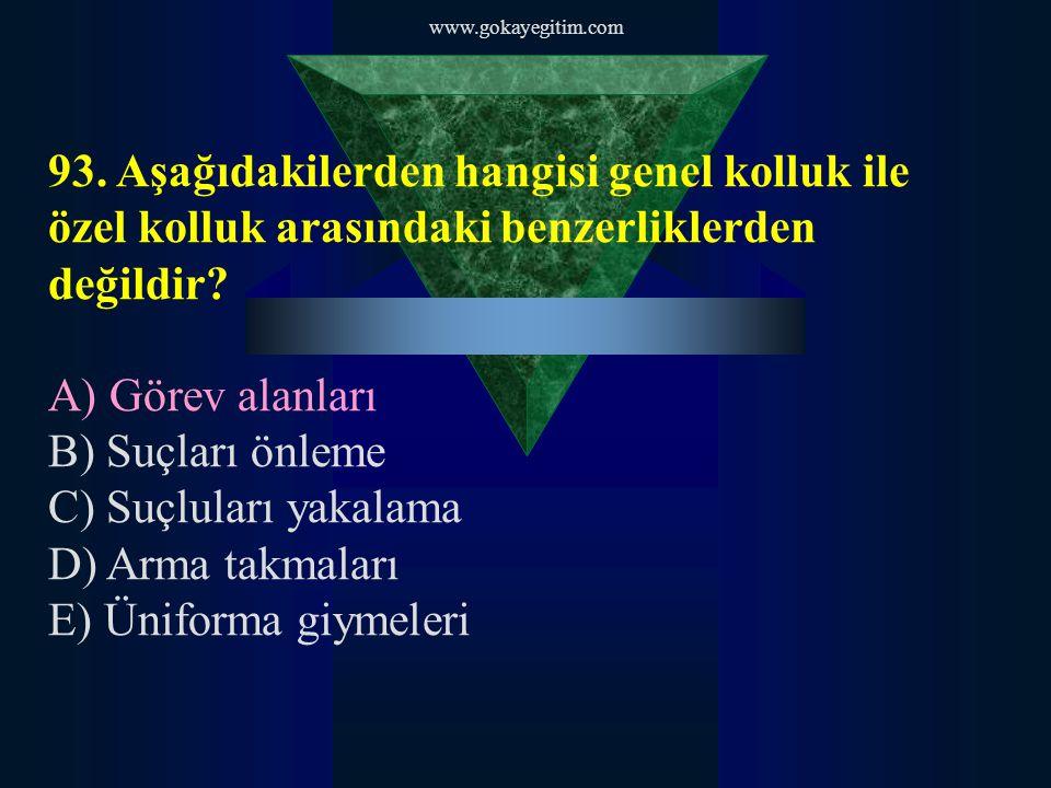 www.gokayegitim.com 93. Aşağıdakilerden hangisi genel kolluk ile özel kolluk arasındaki benzerliklerden değildir