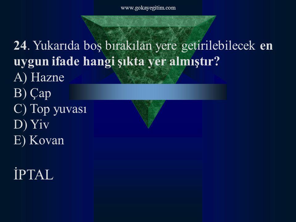 www.gokayegitim.com 24. Yukarıda boş bırakılan yere getirilebilecek en uygun ifade hangi şıkta yer almıştır